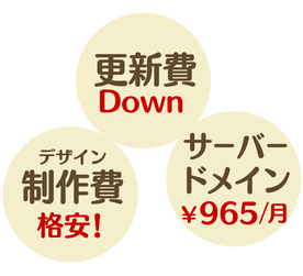 更新費ダウン、デザイン制作費格安、サーバーとドメインこみで月額965円