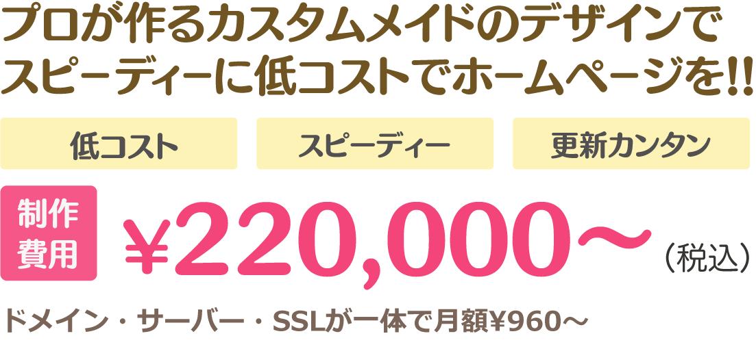 プロが作るカスタムメイドのデザインでスピーディーに低コストでホームページを!!低コスト、スピーディー、更新カンタン、制作費用 ¥220,000〜 ドメイン・サーバー・SSLが一体で月額¥960〜